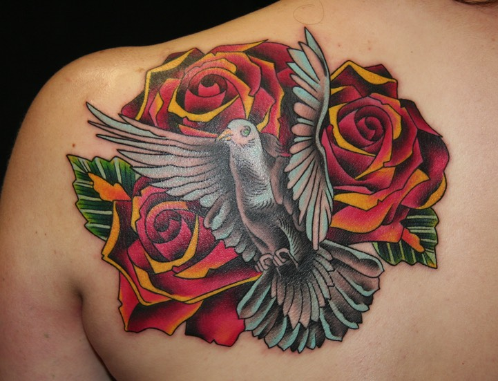 Roses & Dove Tattoo by Brandon G Notch